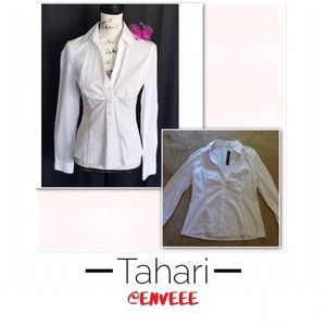 Tahari White Long Sleeve Blouse, New With Tags